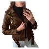 Women Plus Size Jacket Coat Faux Leather Solid Color