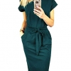 Ladies Basic Crewneck Short Belted Office Dress with Pockets