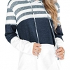 Fall Color Block Striped Tunic Hoodie Lightweight