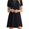 Women's Short Sleeve Shirt Casual Loose Swing Dress