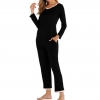 V-Neck solid Color Long Sleeve Pants Suit Pajamas Ladies