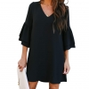 Women's Dress Sweet & Cute V-Neck Bell Sleeve Shift Dress