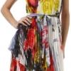 Hem Pleated Short Sleeveless Dress with Rose Design