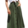 Button Front High Waist A Line Midi Skirt with Pockets