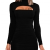 Women's Sexy Long Sleeve Cut Out Bodycon Dress