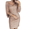 Sparkly V Neck Long Sleeve Bandage Bodycon Mini Dress