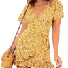 Summer Women Short Sleeve Print Dress V Neck Casual Short