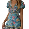Bohemian Floral Print Ruffle Swing A Line Beach Mini Dress Green