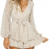 Women's Polka Dot Jumpsuits Deep V-Neck Long Sleeve