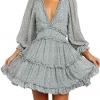 V Neck Long Sleeve Open Back Printed Mini Short Dress