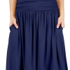 Women Knee Length Navy a Line Skirt with Side Pockets