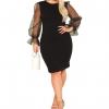 Women's Plus Size Elegant Mesh Contrast Pearl Beading