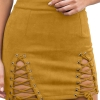 Cross Lace Up Slit Bodycon Night Out Mini Skirt Yellow