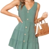 Women's Summer Sleeveless V Neck Button Down Casual