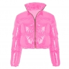 Women Long Sleeve Zipper Puffer Jacket