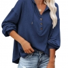 Plus Size Tops V Neck Hoodie Long Sleeve Shirt