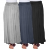 High Waisted Ruched Fold Over Elastic Waistband Flowy Long Length Skirts