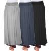 High Waisted Ruched Fold Over Elastic Waistband Flowy Long Length Skirts