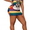 Short Sleeve Rabbit Carton Printed Loose Strip Shirt Dress