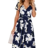 Summer Short Sleeve V-Neck Pattern Knee Length Dress with Pockets