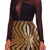 Sheer Mesh Long Sleeves Club Sequins Dress Plus Size