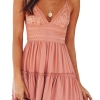 Spaghetti Strap Bowknot Backless Sleeveless Lace Mini Swing Skater Dress Pink