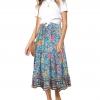 Women's Boho Floral Print Elastic High Waist Pleated A Line Midi Skirt