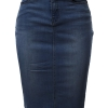 Rayon Knee Length Back Slit Denim Jean Pencil Skirt
