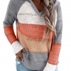Lightweight Color Block Hooded Sweaters Knit Pullover