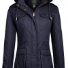 Winter Sherpa Lined Parka Coat Anorak Jacket Navy
