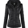 Womens Removable Hoodie Motorcyle Jacket M BLACK